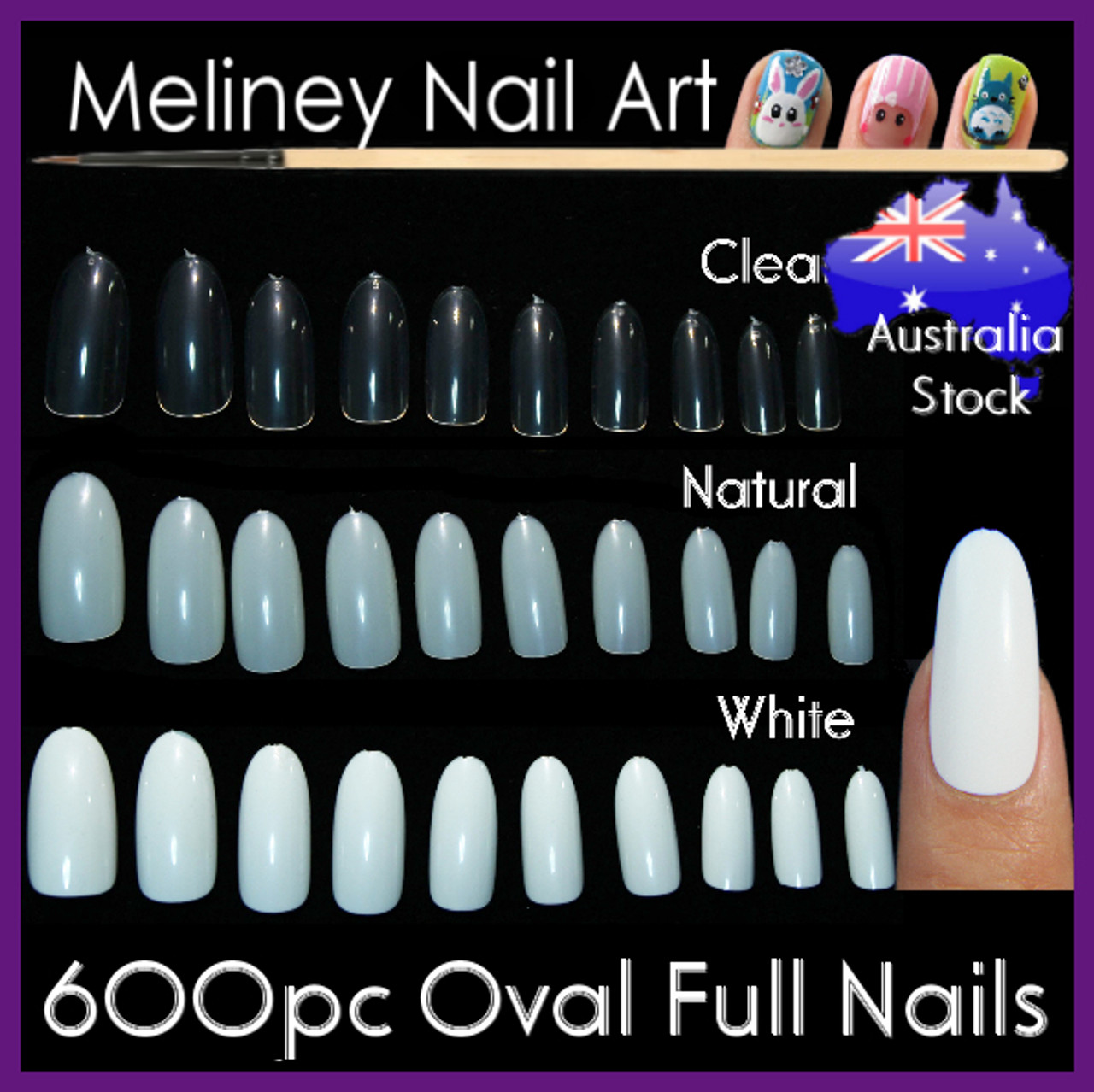 600pc Oval Full Nails. False Artificial Round Nails