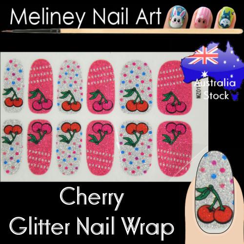 cherry glitter nail wraps