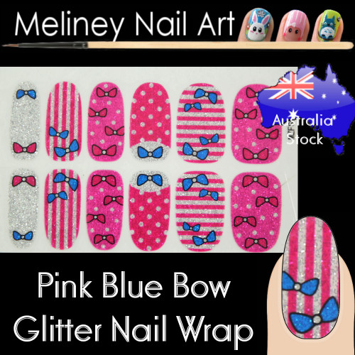 pink bow nail wraps