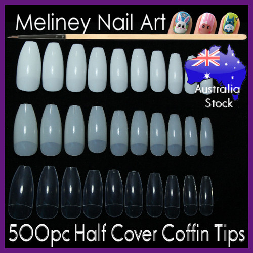 500pc Half Cover Coffin Nail Tips