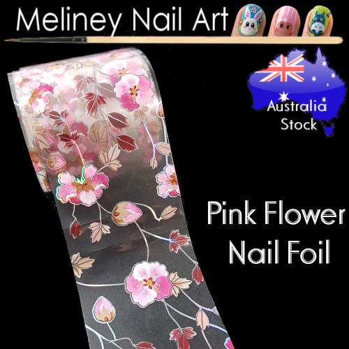 Pink Flower Nail Art Transfer Foil