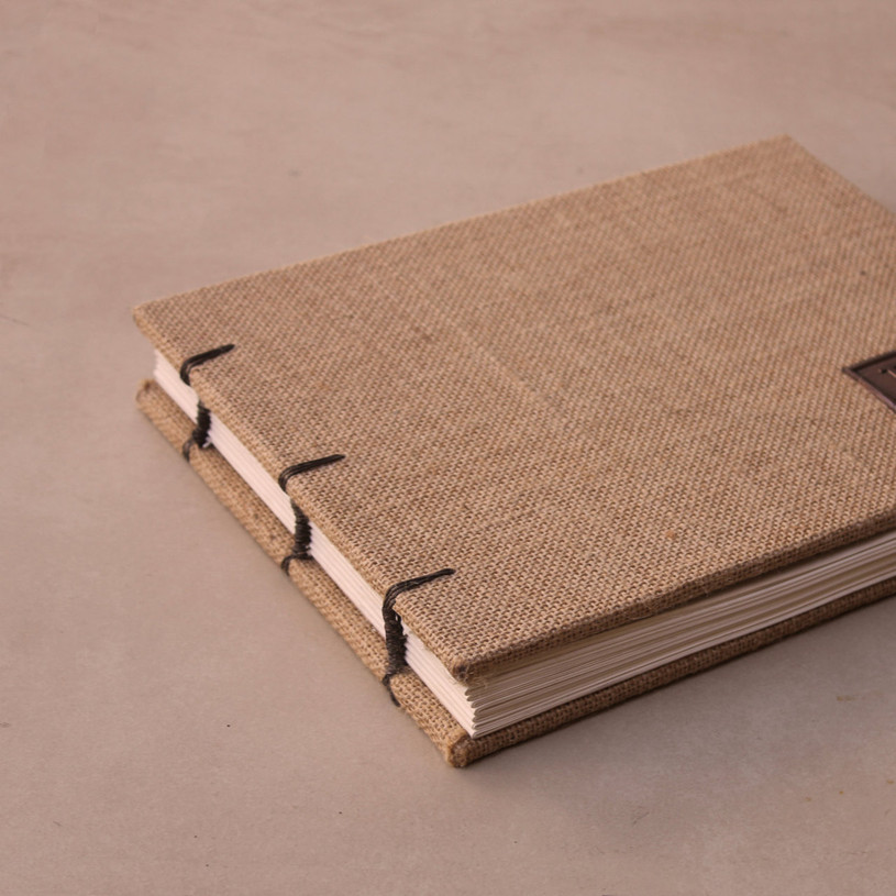 Rustic Wedding Guest Book - Leather and Burlap- Coptic Binding ...