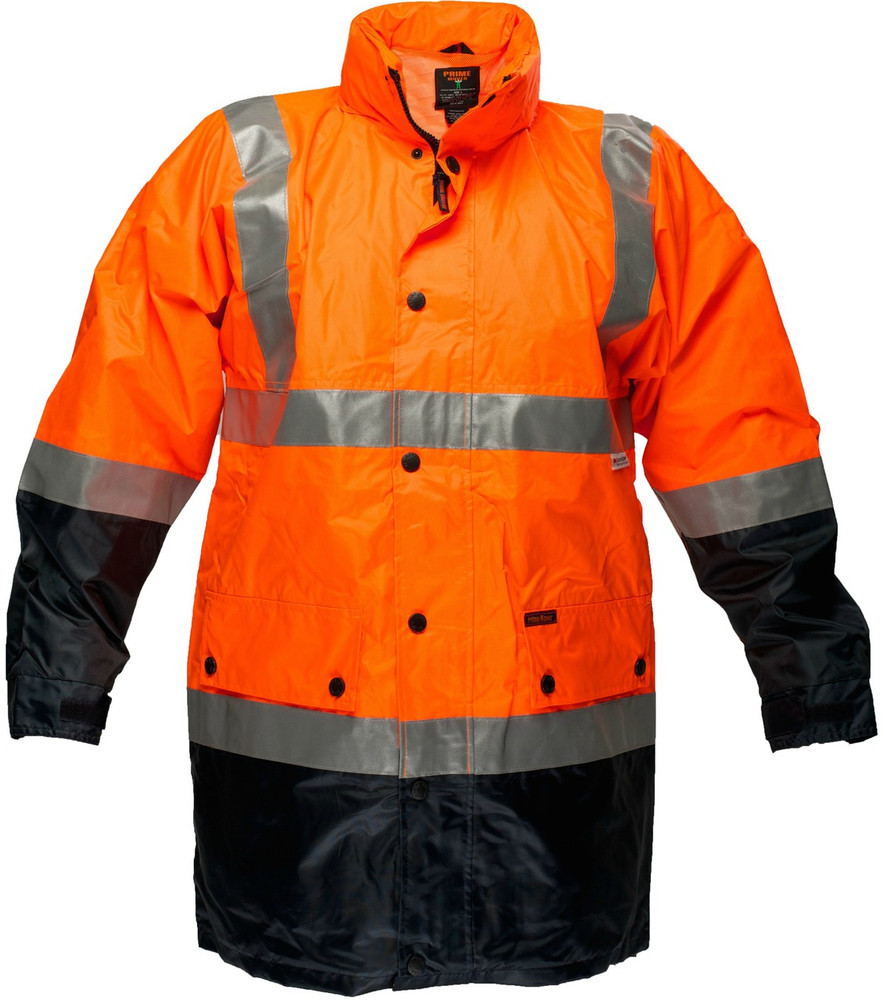 Long Wet Weather Jacket ORG/NVY 3M Reflective (XLarge)