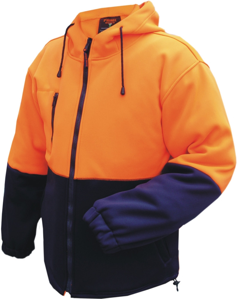 Full Zip D/Layer Water Repellent Fleece Hoodie  ORG/NVY (Large)