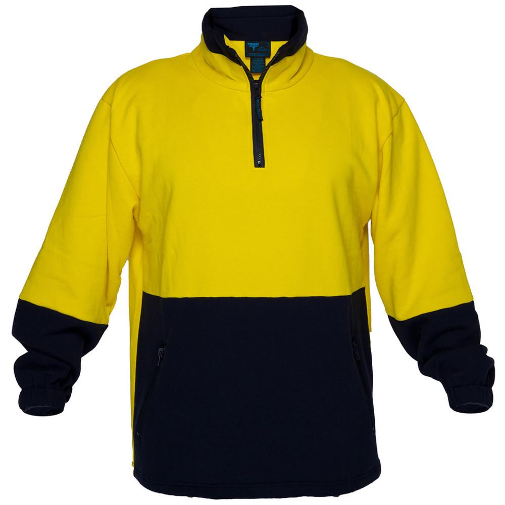 Hi Vis Cotton 1/4 Zip Fleece YLW/NVY A/Pill A/Static (Medium)