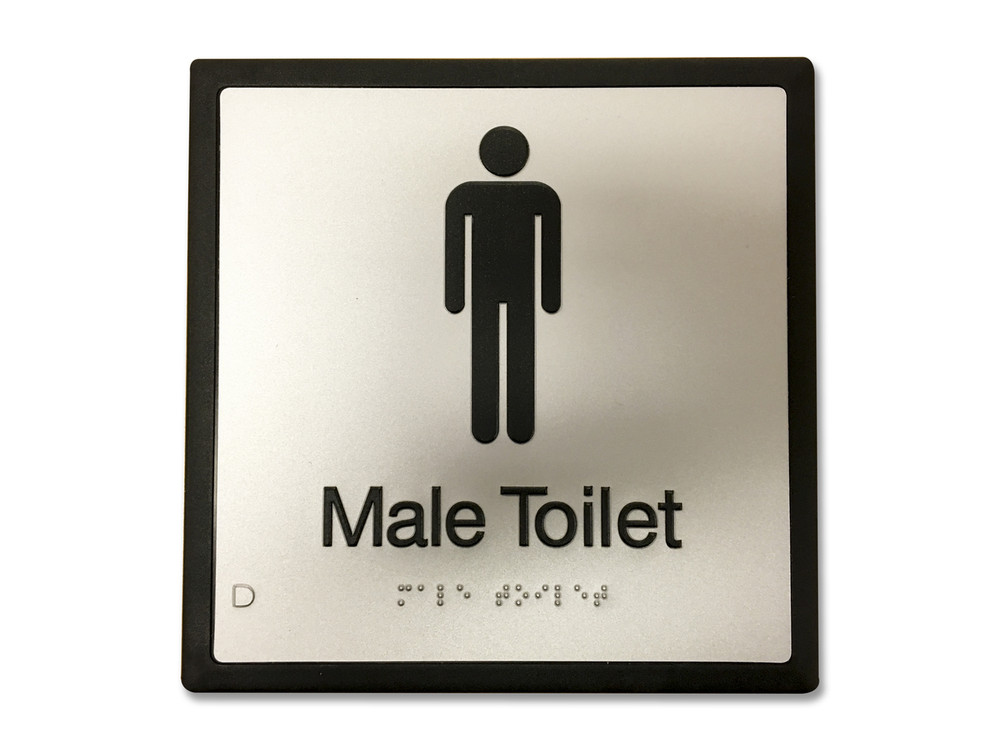 MALE TOILET 200x200 Braille Sign Silver/Black