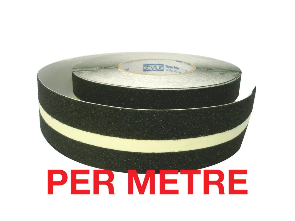 50mm Anti-Slip Tape BLACK/LUMINOUS - PER METRE