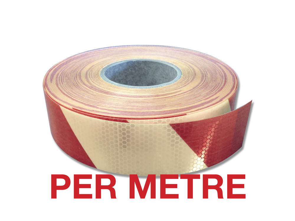 50mm Class 1 Reflective Tape RED/WHITE STRIPED - PER METRE