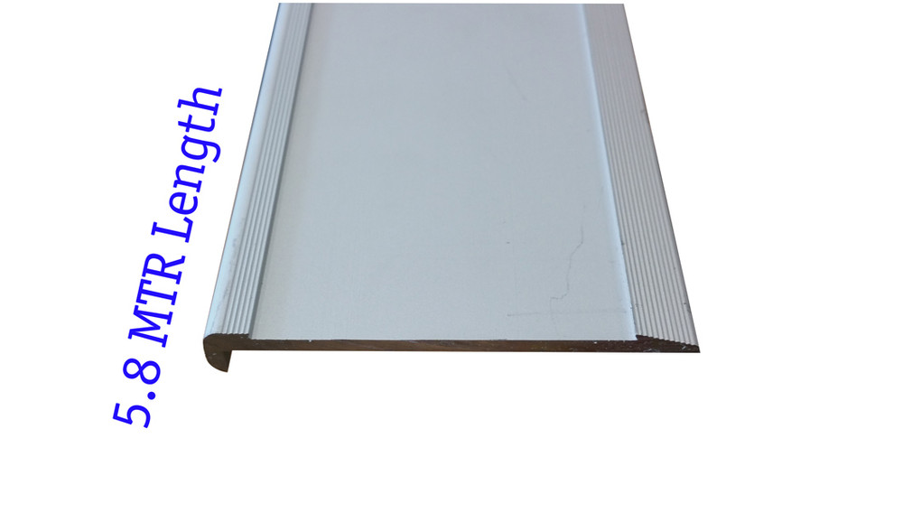 Aluminium Slimline Stair Nosing 5.8 Mtr RAW 80x10mm - Ramp Back