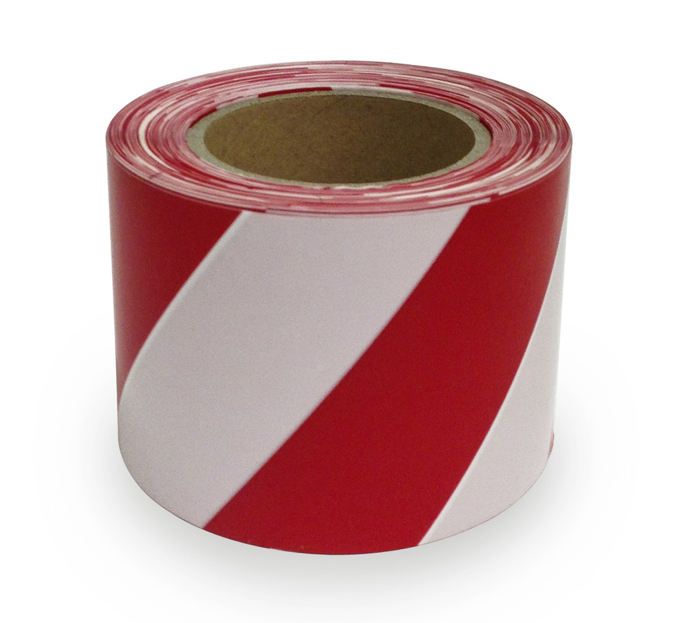 Warning Tape RED/WHITE STRIPED 100mm WIDE x100 mtrs