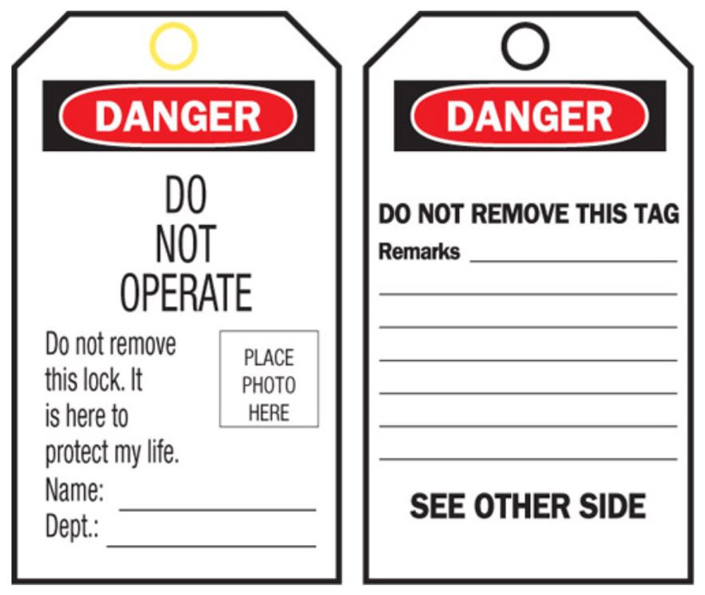 DO NOT OPERATE-ID-SELF LAM TAGS c/w ties x10