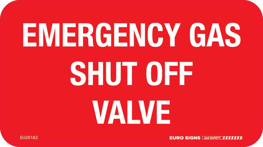 EMERGENCY GAS SHUT OFF VALVE 165x90 DECAL