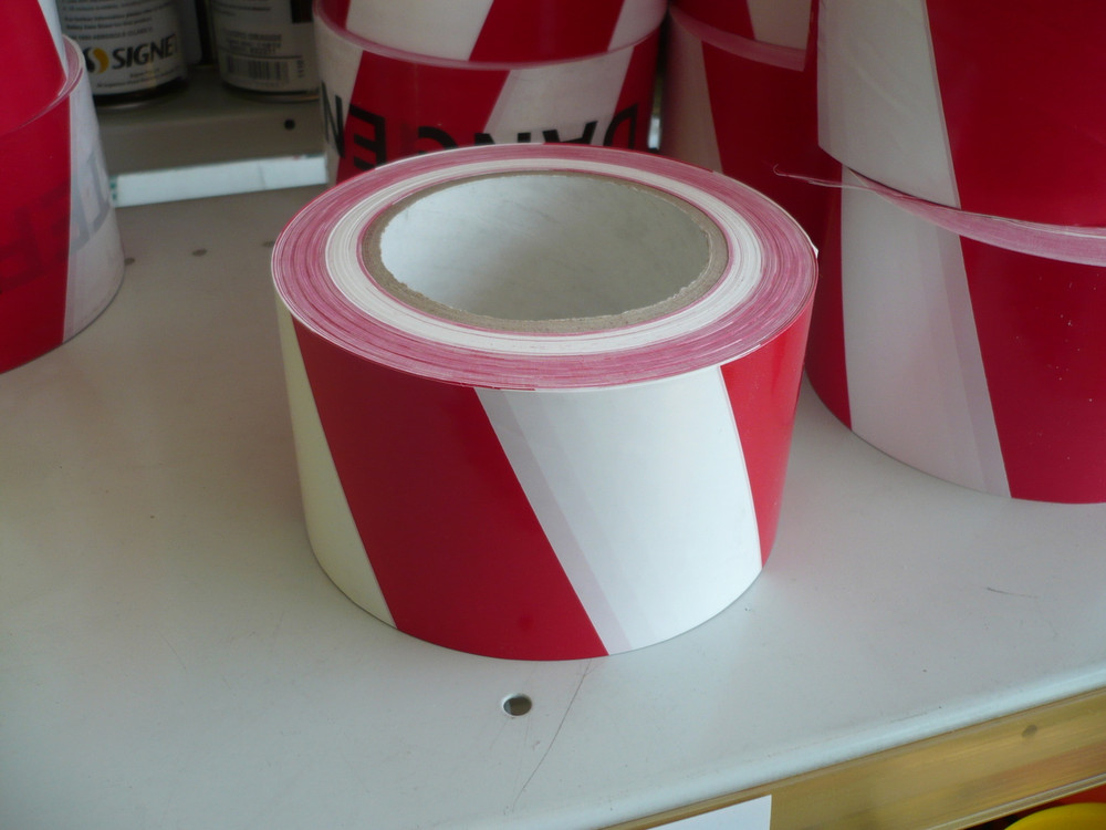 Warning Tape RED/WHITE STRIPED 100mx75mm