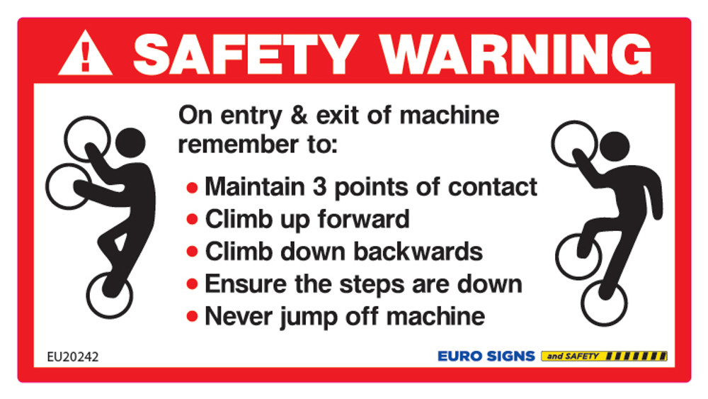 3 POINTS OF CONTACT SAFETY WARNING 120x65 DECAL