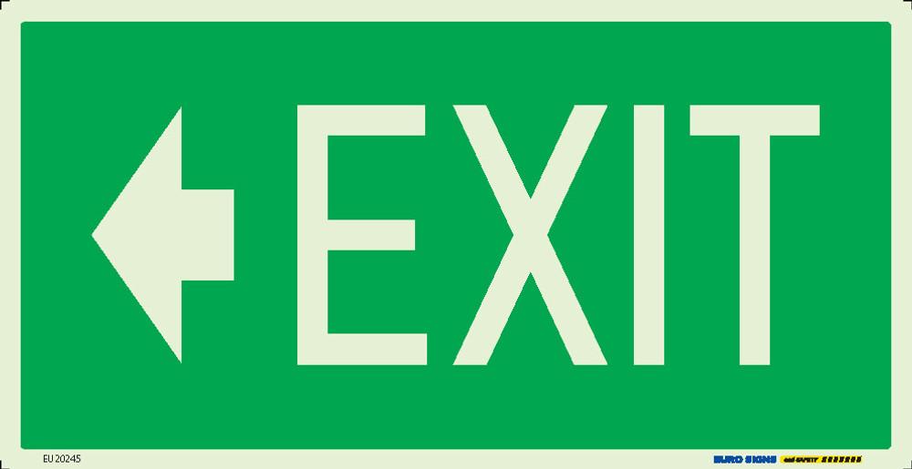 EXIT << 350x180 LUM. DECAL (ARROW LEFT)
