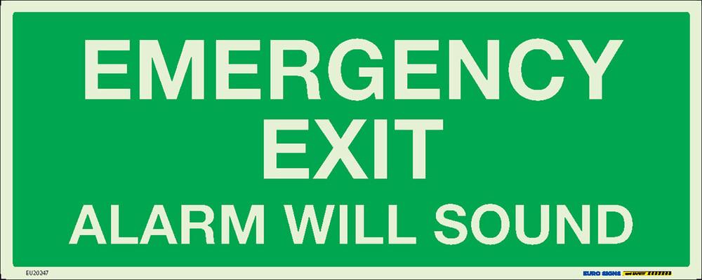 EMERGENCY EXIT ALARM SOUND 450x180 LUM. DECAL