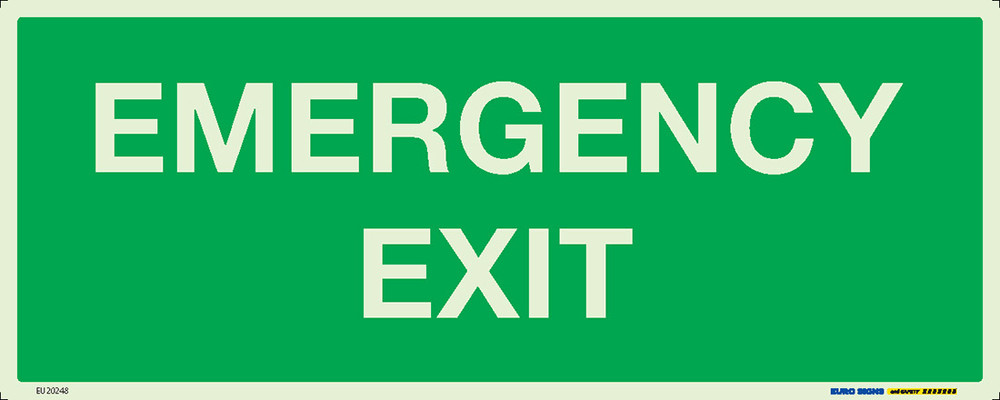 EMERGENCY EXIT 450x180 LUM. DECAL