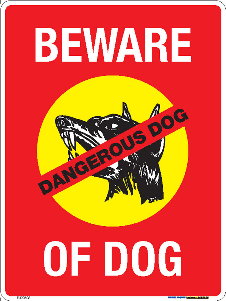 BEWARE OF DOG - 225x300 MTL