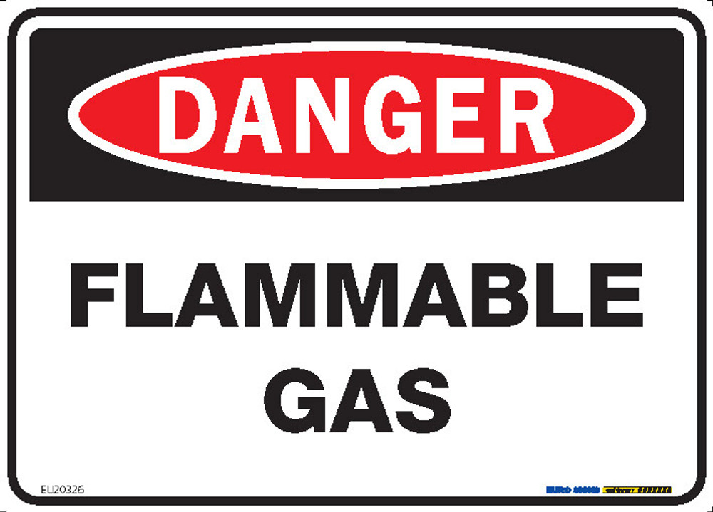 DANGER FLAMMABLE GAS 250x180 DECAL