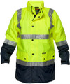 Long Wet Weather Jacket YLW/NVY 3M Reflective (Large)