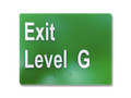 EXIT LEVEL G 150x120mm Braille sign White/Green