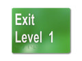 EXIT LEVEL 1 150x120mm Braille sign White/Green