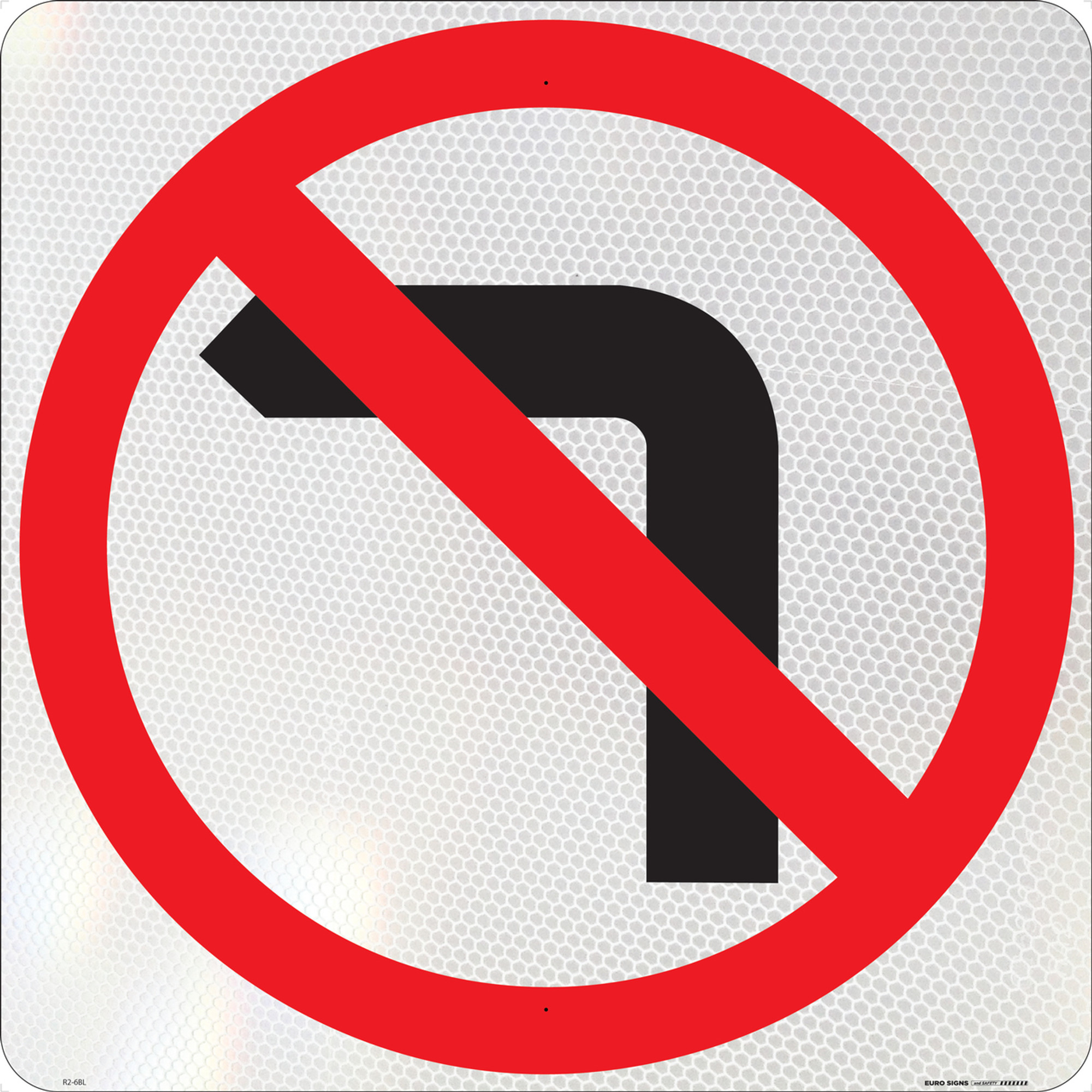 No Left Turn Symbolic 600x600 Class 1 Alum Euro Signs And Safety