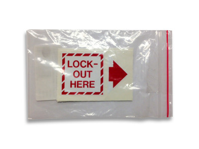 LOCK OUT HERE - 2 Part 50mm Labels (PACK of 5)