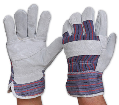 Candy Stripe Cotton Back/Cowsplit Leather Palm GLOVES