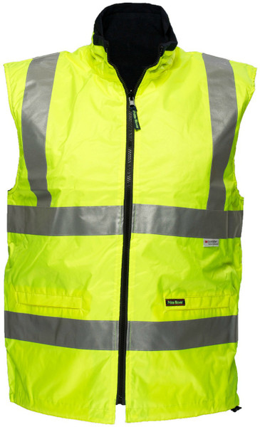 Hi Vis Reversible Waterproof Vest YLW 3M Reflective (Large)