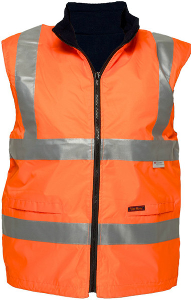 Hi Vis Reversible Waterproof Vest ORG 3M Reflective (Large)