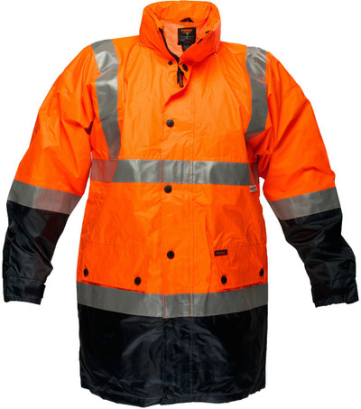 Long Wet Weather Jacket ORG/NVY 3M Reflective (Large)