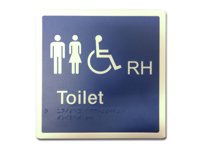 UNISEX ACCESSIBLE RH 200x200 Braille Sign Blue/White