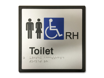 UNISEX ACCESSIBLE RH 200x200 Braille Sign Silver/Black