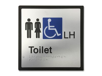 UNISEX ACCESSIBLE LH 200x200 Braille Sign Silver/Black