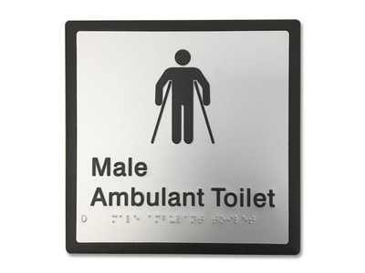 MALE AMBULANT 200x200 Braille Sign Silver/Black