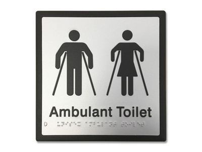 UNISEX AMBULANT 200x200 Braille Sign Silver/Black