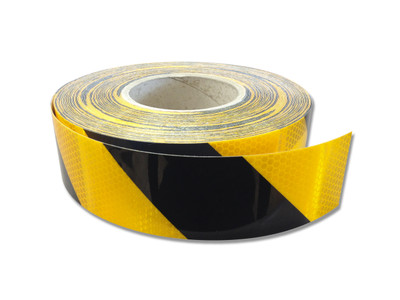 50mm Class 1 Reflective Tape BLK/YEL STRIPED 45.7 m ROLL