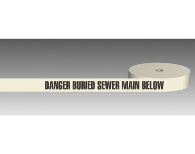 U/Ground Tape DANGER - BURIED SEWER MAIN BELOW 100mmx250m - PLAIN
