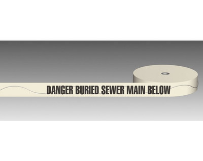 U/Ground Tape DANGER - BURIED SEWER MAIN BELOW 100mmx250m - DETECTABLE