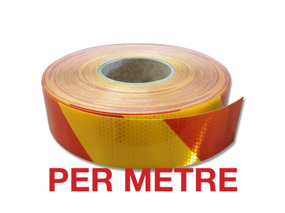 50mm Class 1 Reflective Tape YELLOW/RED STRIPED - PER METRE