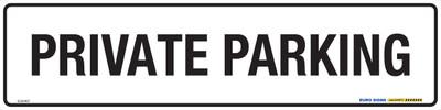PRIVATE PARKING BLK/WHT 400x100 MTL