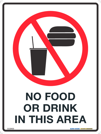 NO FOOD OR DRINK IN THIS AREA 225x300 POLY