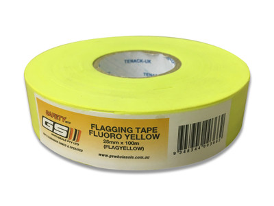 Flagging Tape Fluoro YELLOW 25mm x 100m