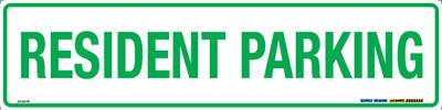RESIDENT PARKING GRN/WHT 400x100 MTL