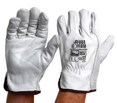 Riggamate Cow Grain Natural Grey GLOVES LARGE