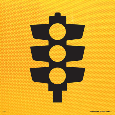 SYMBOLIC 'TRAFFIC LIGHTS' 600x600 Corflute HI-INT BLK/YELLOW