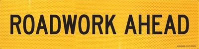 ROADWORK AHEAD 1200x300 Corflute HI-INT BLK/YLW
