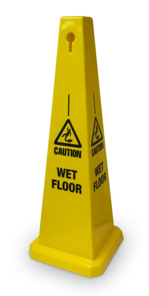 Wet Floor Cone 320mm base x 900mm high Yellow plastic message on all sides