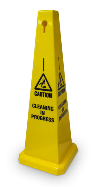 Cleaning in Progress Floor Cone 320mm base x 900mm high Yellow plastic message on all sides